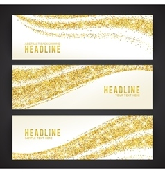 Set of banners with golden confetti theme vector image