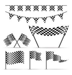 Set of sport checkered flags vector