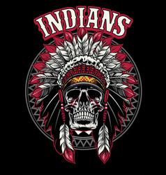 Skull native american warrior vector