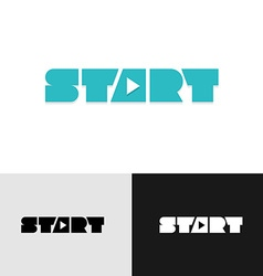 Start word text logo with play triangle symbol vector image