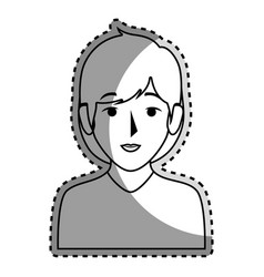Sticker silhouette half body woman with short hair vector