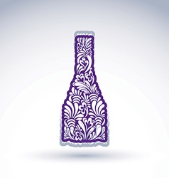 Stylized bottle decorated with ethnic flower vector