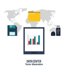 Tablet and icon set Data center design vector