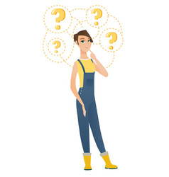 Thinking farmer with question marks vector