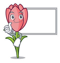 thumbs up with board crocus flower character vector image