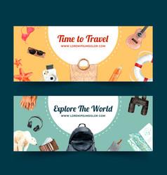 Tourism day banner design with beach beach ball vector