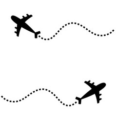 Two air plane icon set black silhouette shape vector
