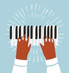 two hands a piano and music notes vector image