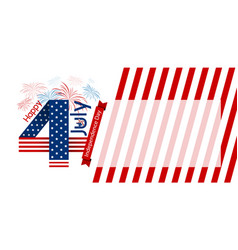 Usa 4 july happy independence day design on white vector