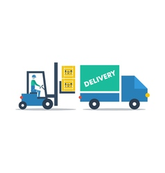 Warehouse services fork truck driver loading boxes vector image
