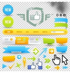 Web template icon and arrows vector