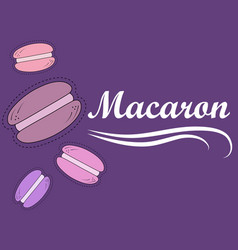 with macarons violet background vector image