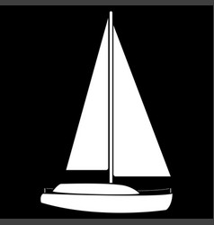 Yacht the white color icon vector