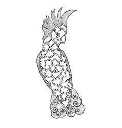Zentangle stylized cockatoo vector image