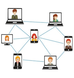 A network of people connected by technology vector image