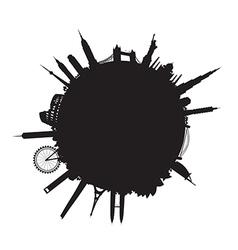 black round cityscape vector image vector image