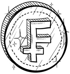 doodle currency coin franc vector image vector image