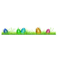 easter eggs in green grass vector image vector image