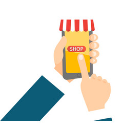 hand holding a smartphone with mobile shopping app vector image