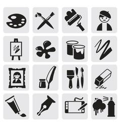 Icons set arts vector image