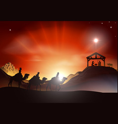 traditional christmas nativity scene vector image
