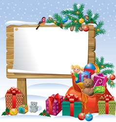 Christmas wooden sign board vector image