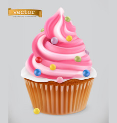 cupcake fairy cake 3d realistic icon vector image vector image
