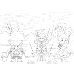 Fantasy heroes in forest contour vector image vector image