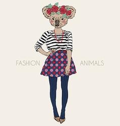 fashion animal cute koala hipster girl character vector image