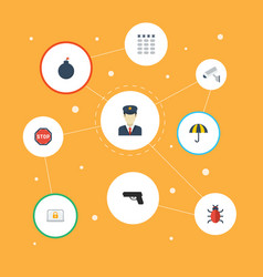 flat icons parasol camera explosive and other vector image vector image