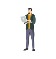 Man With Goatee Beard And Lap Top In Green vector image vector image