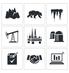Oil production in the Arctic Icons Set vector image vector image