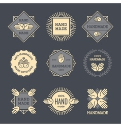 Outline handmade labels set on dark background vector image vector image