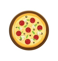 Pizza and wooden plate vector image vector image