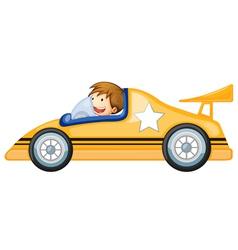 a boy driving a car vector image vector image