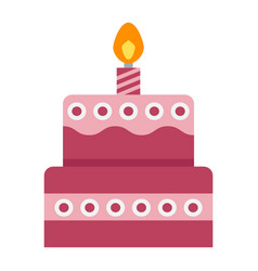 birthday cake flat icon sweet and holiday vector image vector image