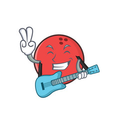 bowling ball character cartoon with guitar vector image vector image