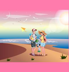 Cute cartoon family on beach vector