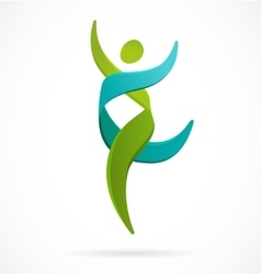 Dna genetic symbol - running and jumping man icon vector