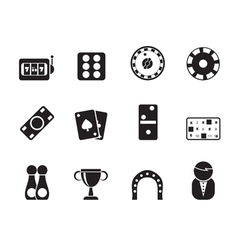 Silhouette gambling and casino Icons vector image