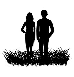 silhouette of a couple in a field grass image vector image