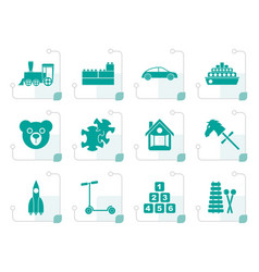 stylized different kinds of toys icons vector image