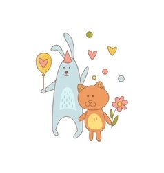 Cat And Rabbit Characters On Birthday Party vector image vector image