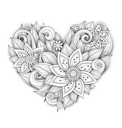 Monochrome floral composition in heart shape vector