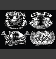 oktoberfest badge set in black and white vector image vector image