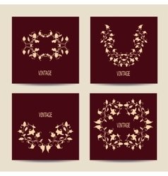 Set of cards with vintage design Floral vector image