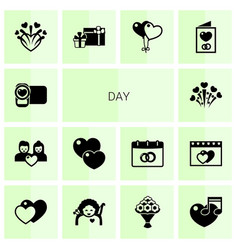 14 day filled icons set isolated on white vector image