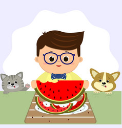a boy wearing glasses and a bow tie is sitting at vector image