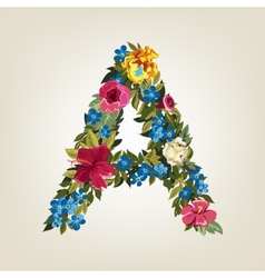 A letter Flower capital alphabet Colorful font vector