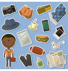 African-American man and male things vector